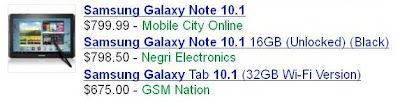 Samsung Galaxy Note 10.1 Price