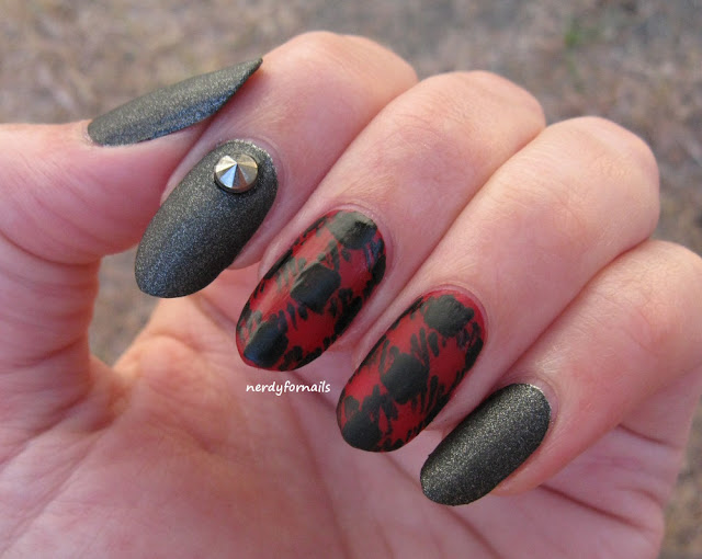 Along Came A Spider Jezzie Flanagan Inspired Nails Red Flannel with Black Leather and Studs