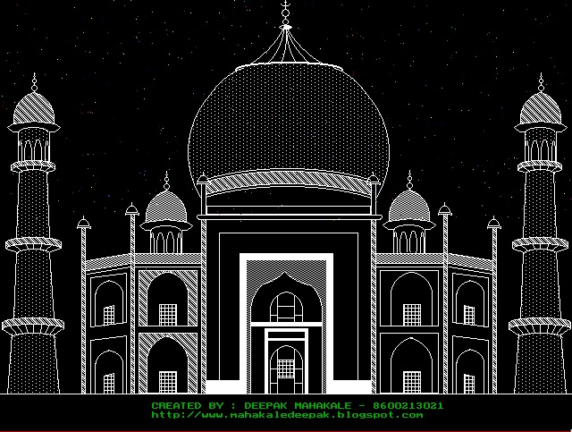 Line Drawing Program In C : C programming program to draw taj mahal using graphics in