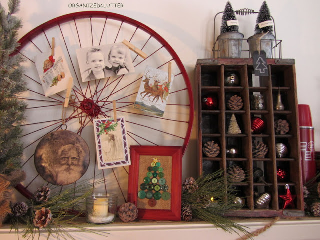 Bike Wheel in Christmas Mantel