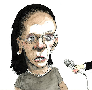 mayor linda thompson of harrisburg reacting to the press on WHBG 20 drawn by Ammon Perry editorial illustration