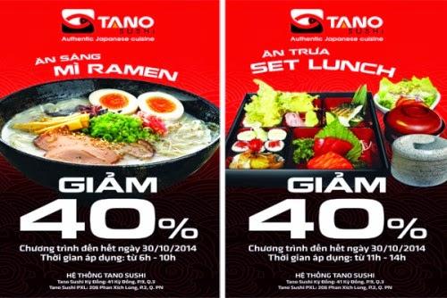 Tano Sushi: Ưu đãi giảm giá 40% cho toàn bộ Set lunch và mì Ramen - 1