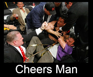 amber lamp man drinking beer in the middle of the fight