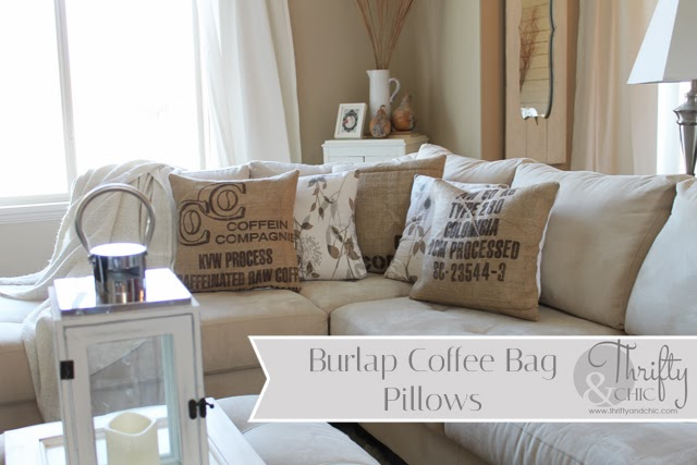 burlap coffee bag pillows