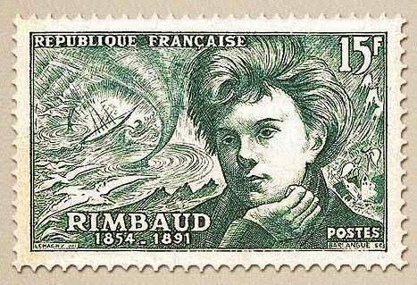 Arthur Rimbaud, postage stamp.