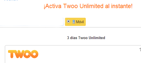 activar twoo unlimited desde moviles