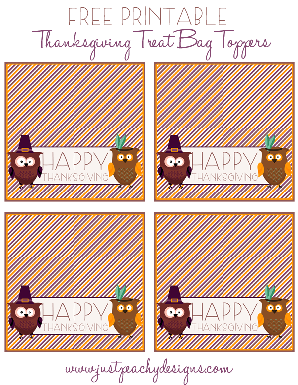 Just Peachy Designs: Printable Thanksgiving Treat Bag Toppers