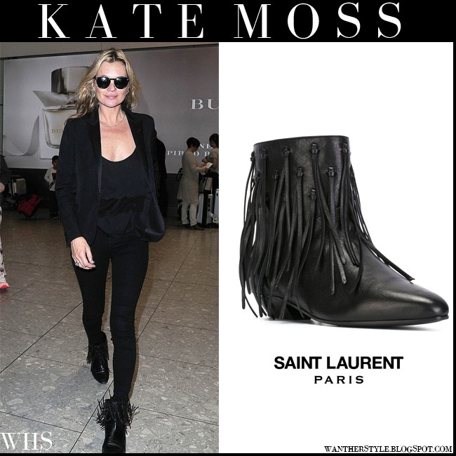 Kate Moss in black Saint Laurent fringed low heel ankle boots what she wore july 15 airport style