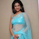 Rishika Singh in Blue Transparent Saree Pics