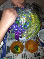 balloon, craft, papier mache, paper mache, paint, glitter