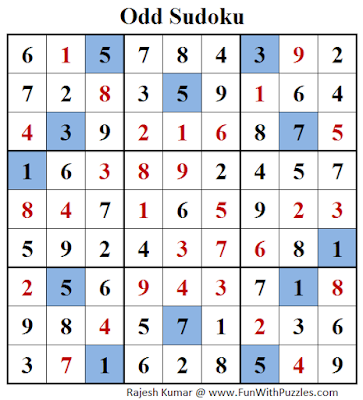 Answer of Odd Sudoku (Fun With Sudoku #124)
