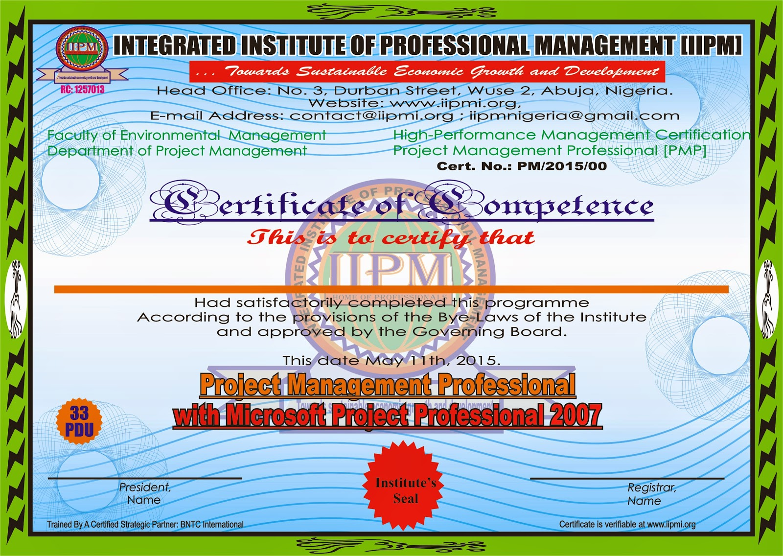 Integrated Institute Of Professional Management Sample Professional