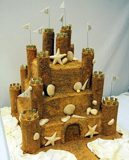 Beach Wedding Theme Based Castle Wedding Cake