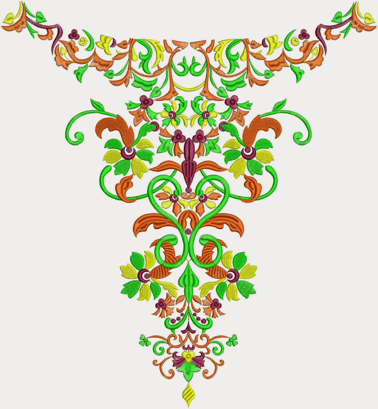 Embdesigntube Winter Season Embroidery Neck Fashion