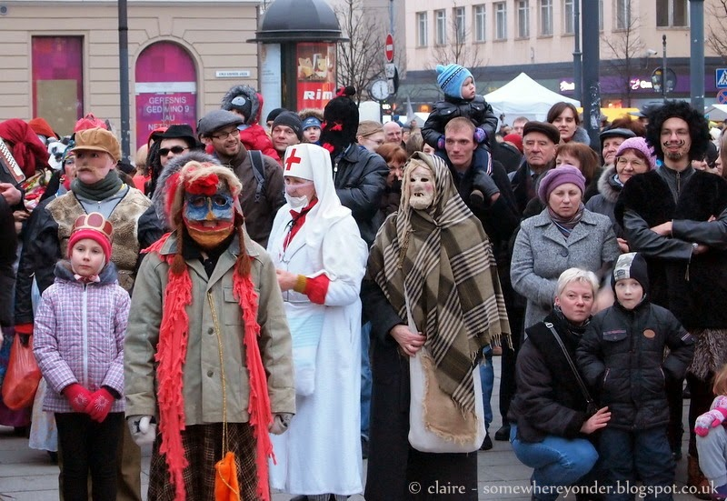 Locals in costume - Užgavénés - Vilnius, Lithuania