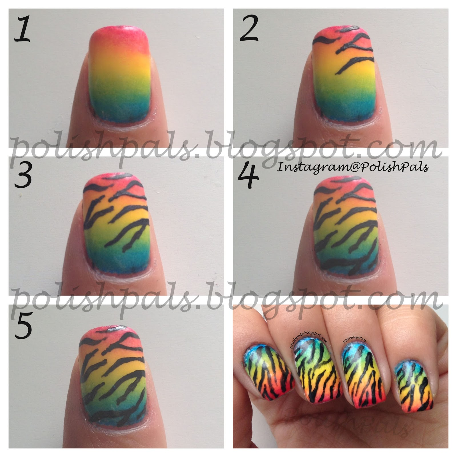 http://polishpals.blogspot.com/2013/08/rainbow-zebra-print-tutorial.html