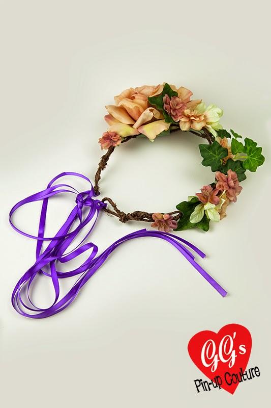 flower crown, festival, floral headband, peach, bohemian, bridal, bridesmaid