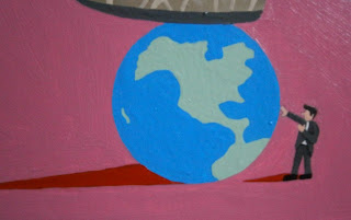 Close up of the painting - Stop Playing With The World!