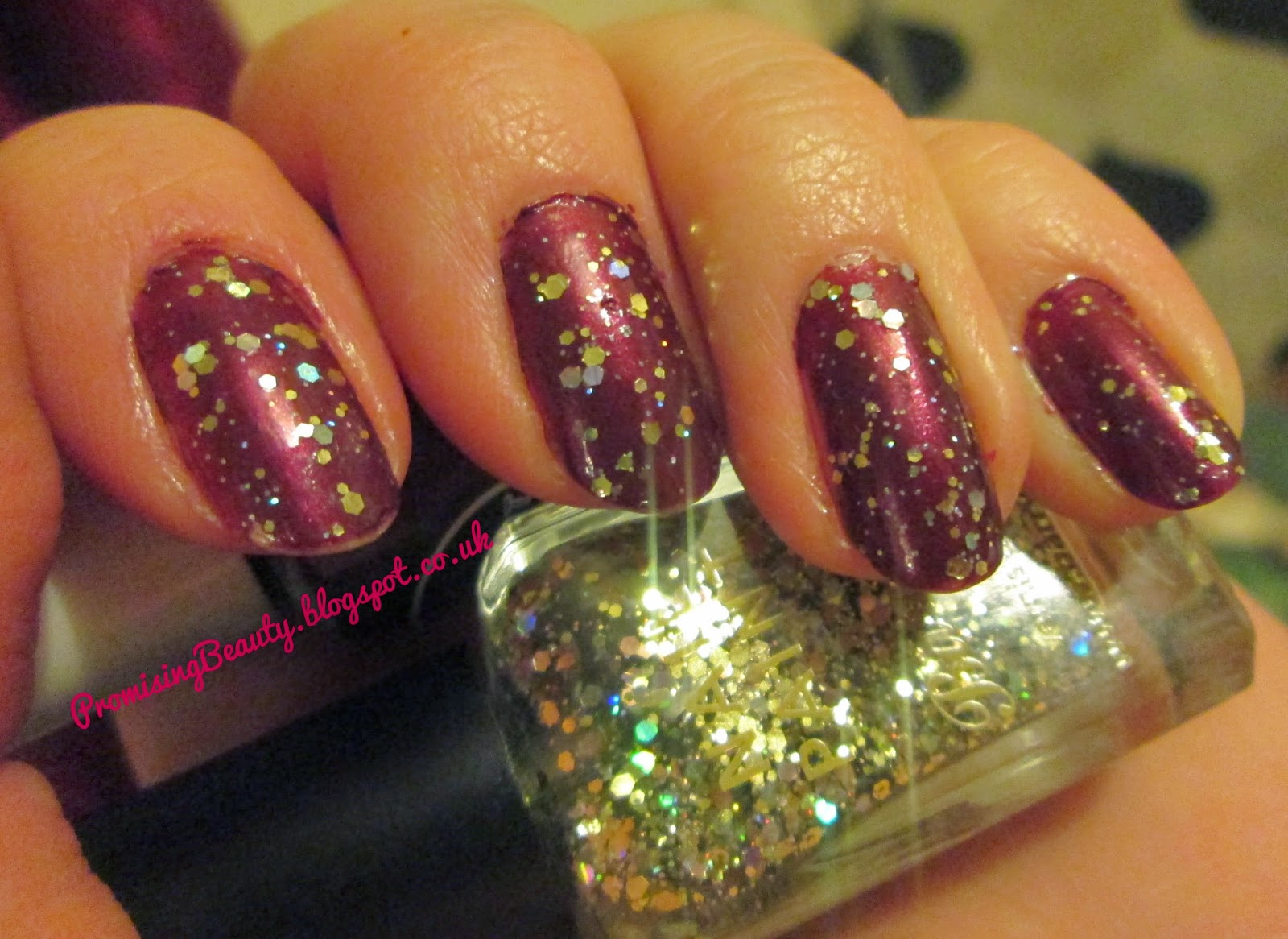 burgundy, deep red autumn nails with gold glitter, oxblood. Barry M