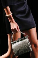 Малка овална чанта с камъни на Prada