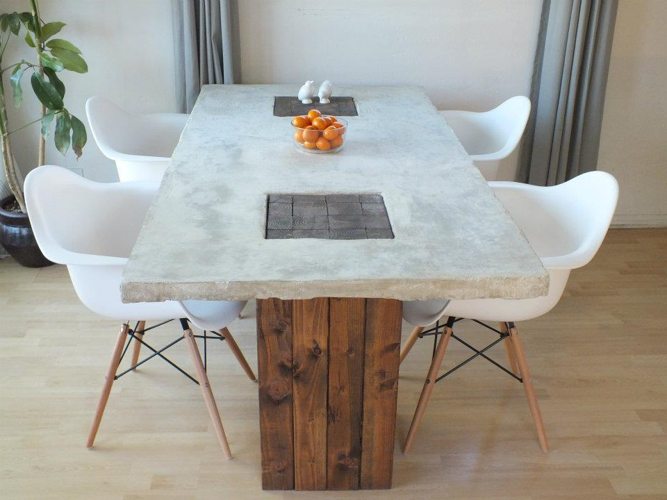 Designer eco eco diy feature concrete table for Mesas de marmol para comedor