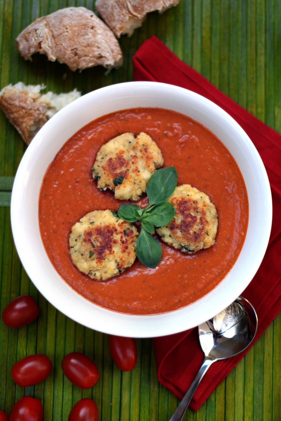 LekkerBek: Roasted Tomato Soup with Ricotta Fritters