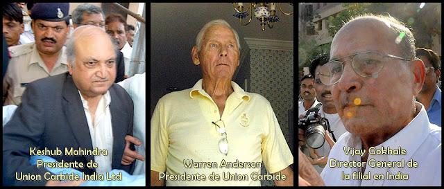 Algunos responsables del desastre de Bhopal