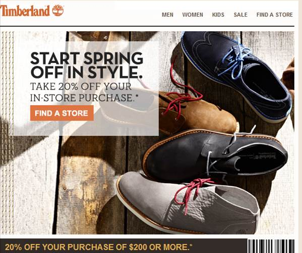 Timberland coupon codes