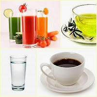naturalbeautyrec.blogspot.com, black coffee, water, green tea, vegetable juice