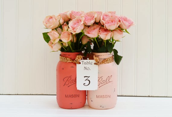 pink coral mason jar centerpiece table numbers for wedding party