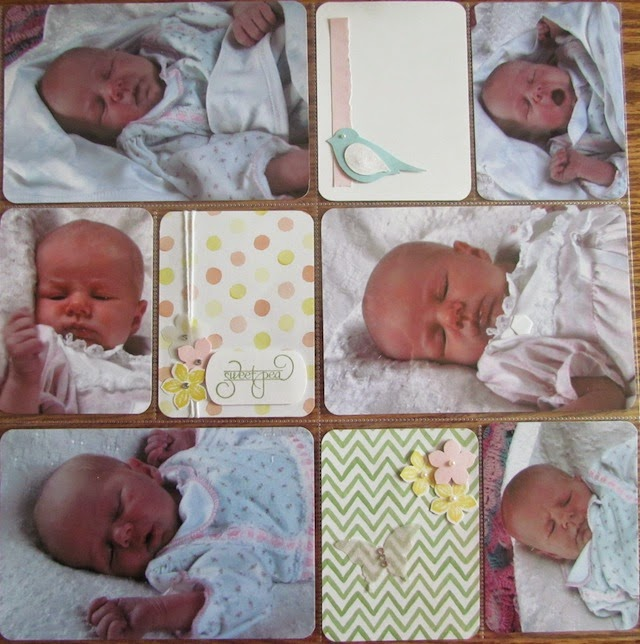 scrapbook pocket page of baby with decorative cards
