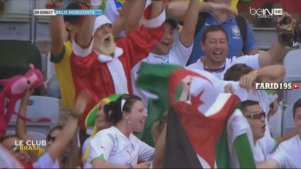 جماهير جزائرية تحمل علم فلسطين