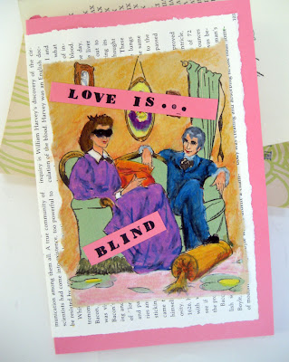card made from retro book art