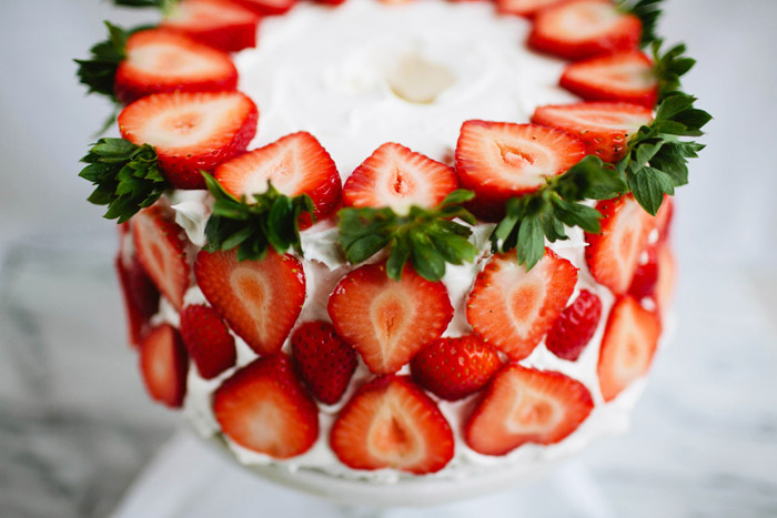 angel food cake, strawberries, birthday cake, brittany wood