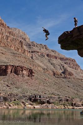 Jake Rehn taking the leap, clif jumping, colorado river, grand canyon, chris baer