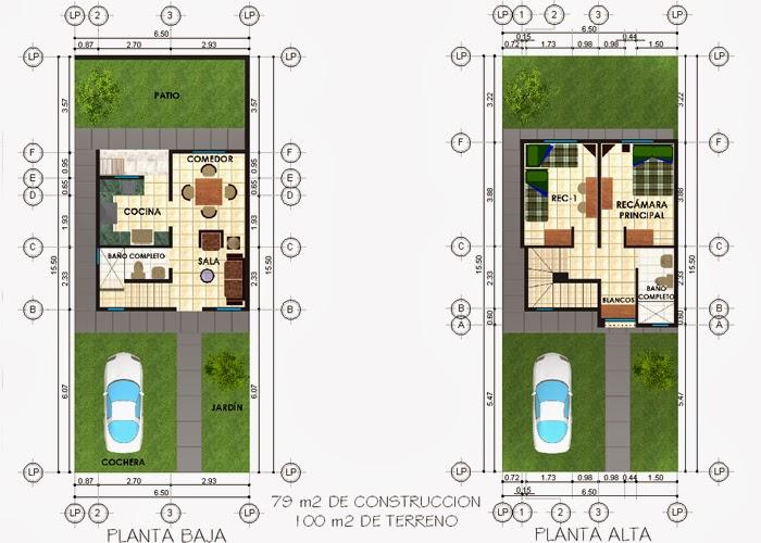 Plantas Arquitectónicas para terreno de 100 metros cuadrados