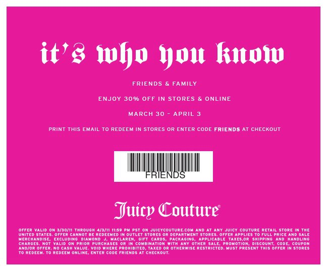 Juicy Couture Coupons 2011;