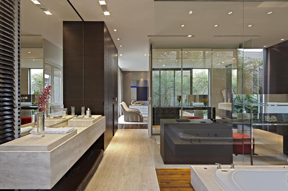 Quarto, banheiro e closet integrados  veja detalhes dessa suíte moderna e ma -> Quarto Com Banheiro Integrado Simples