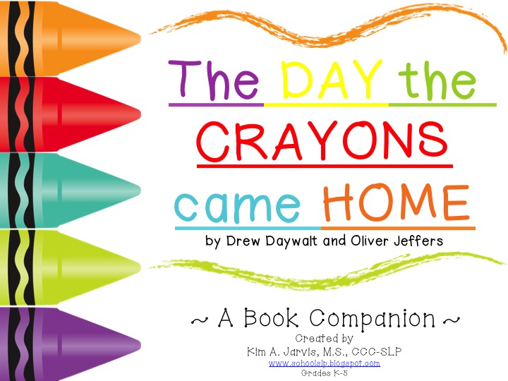 school slp book companion preview the day the crayons came home