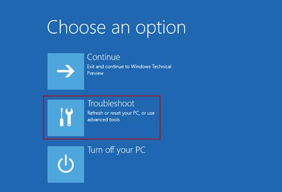 choose windows 10 troubleshoot