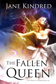 Cover of The Fallen Queen, featuring a blonde white woman in a ball gown. She is surrounded by mists of red, gold, and dark blue.