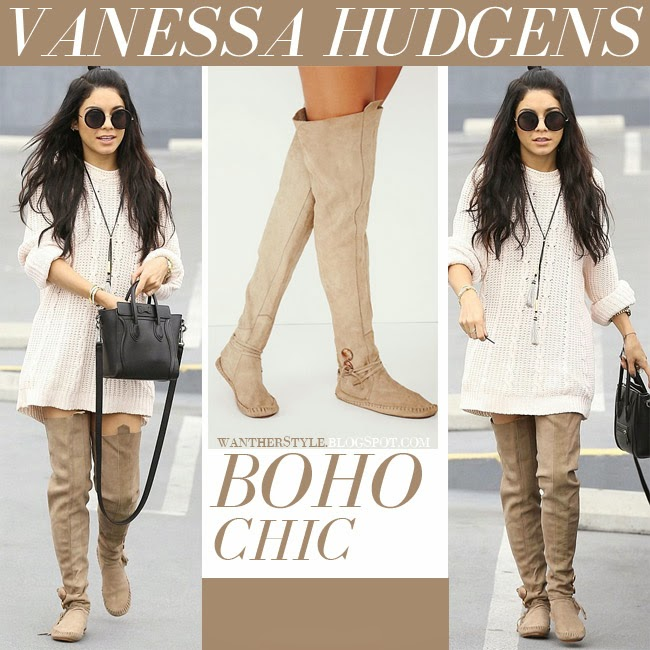 Vanessa Hudgens in beige suede over the knee moccasin boots from One Teaspoon want her style streetstyle