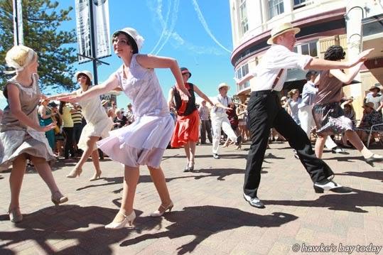 Born to Move Deco Dancers perform in Emerson St, Napier photograph