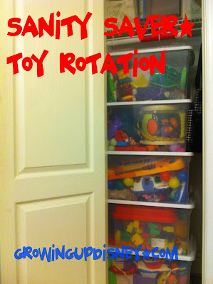 toy rotation, toys stacked in closet