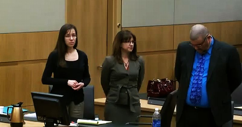 Jodi Arias is seen in court on April 15, 2013