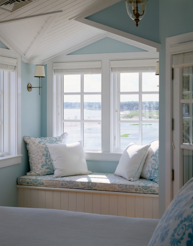 Serene Coastal Blue Walls Of This Master Bedroom Almost Blend With The