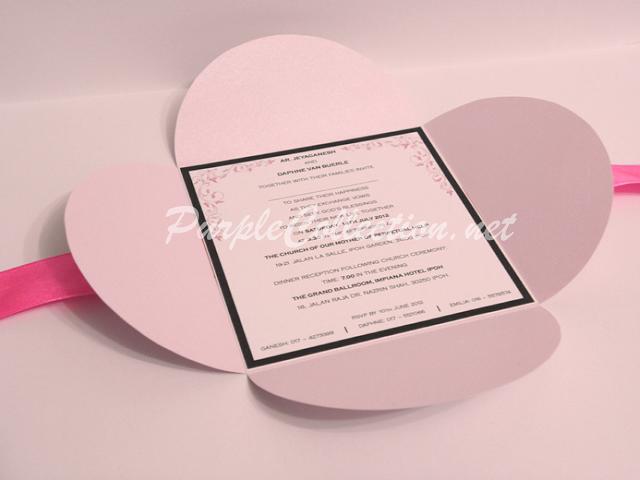 Petal Fold Lilac Pink Wedding Invitation, Lilac Pink Petal Fold Wedding Card, 11cm x 11cm, Square Card, Petal Fold Card, Perfume Lilac Pink Card Stock, Daphne and Ganesh, Daphne, Ganesh, Pink, Pink Ribbon, Petal Fold, Petal, Lilac Pink, Wedding Invitation Card