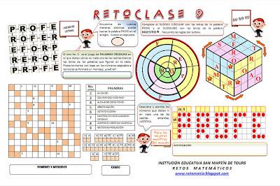 Reto Profe, Día del maestro, Día del Profesor, Retos alusivos al maestro, Cripotoaritmética, Problemas de lógica, Problemas de ingenio, Desafíos matemáticos