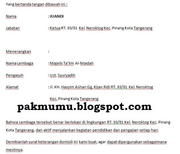 Contoh Surat Keterangan Domisili Dari Ketua Rt