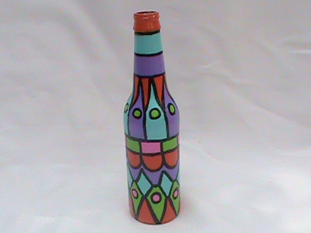 Vazquez style art painted bottle tutorial for Can acrylic paint be used on glass bottles